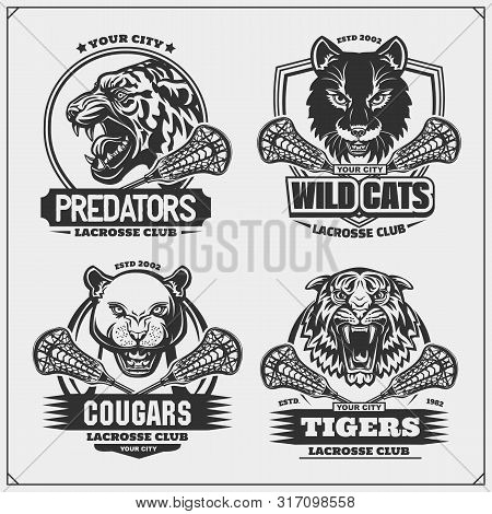 Set Of Lacrosse Emblems, Badges, Logos And Labels With Tiger, Cougars And Wildcat. Print Design For