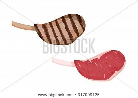 A Piece Of Meat. Uncooked And Grilled Steak. Vector Illustration.