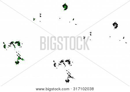 Riau Islands (subdivisions Of Indonesia, Provinces Of Indonesia) Map Is Designed Cannabis Leaf Green