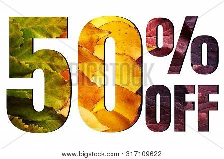 50% Off Discount Promotion Sale Poster, Ads. Autumn Sale Banner With Green, Yellow And Red Leaves On