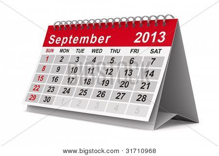 2013 year calendar. September. Isolated 3D image