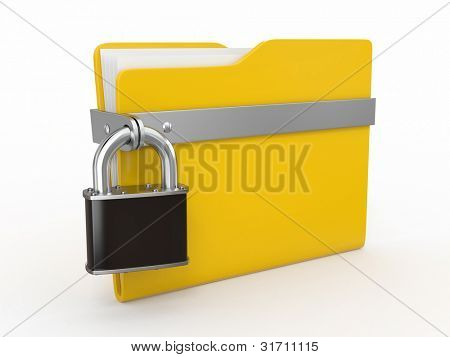 Confidential files. Padlock on folder on white background. 3d