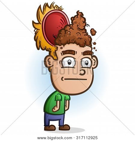 A Stupid Cartoon Character With His Head Cracked Open With Poop For Brains Signifying He Is Clueless