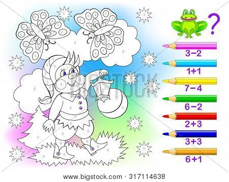 Educational Page With Exercises For Children On Addition And Subtraction. Solve Examples And Paint T