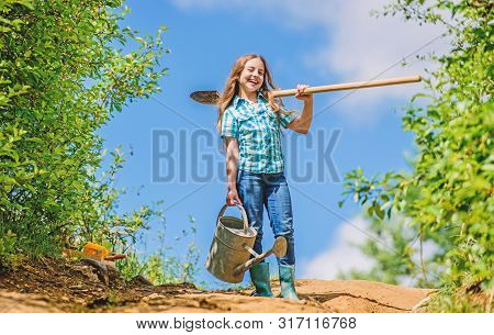 Gardening. Kid Worker Sunny Outdoor. Family Bonding. Spring Country Side Village. Future Success. Li