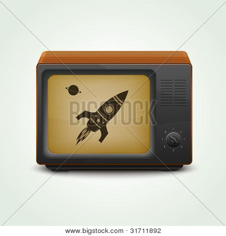Realistic retro tv set with retro rocket in space