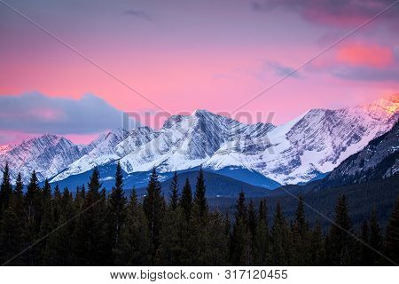 Sunrise In The Mountains Of Peter Lougheed Provincial Park In Kananaskis, Alberta, Canada