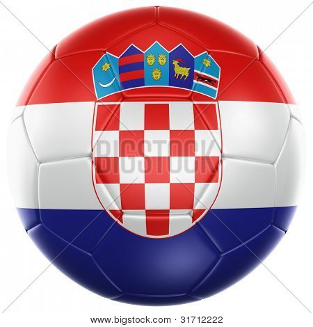 3d rendering of a Croatian soccer ball isolated on a white background