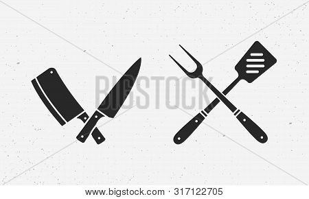 Butcher Knives, Grill Fork And Spatula. Meat Knife, Cleaver, Chef, Bbq Fork. Butcher Knives. Set Of