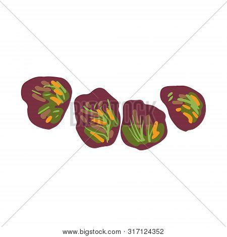 Dole Salad, Red Leaf Lettuce Isolated On White Background. Flat Cartoon Style. Vector Illustration.