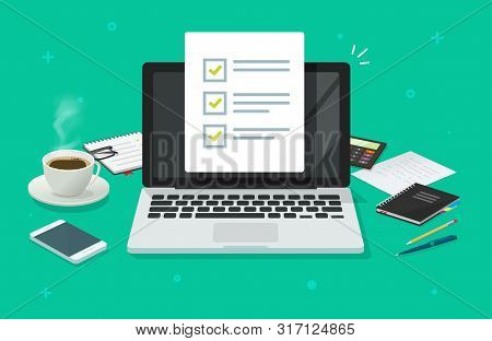 Checklist Document In Laptop And Working Desk Vector. Cartoon Computer With Checkmarks Document Or T