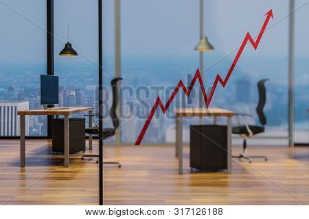 Red Rising Stock Market Graph On Glas Wall In Modern Office Workplace, Conceptual Startup Company 3d