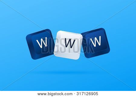 Www Word Written With Computer Keyboard Buttons. World Wide Web. Internet Website Concept. Computer