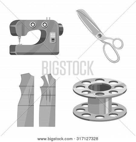Vector Design Of Dressmaking And Textile Icon. Set Of Dressmaking And Handcraft Vector Icon For Stoc