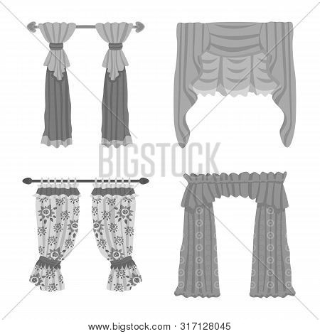 Vector Design Of Interior And Cornice Symbol. Set Of Interior And Drapes Stock Vector Illustration.