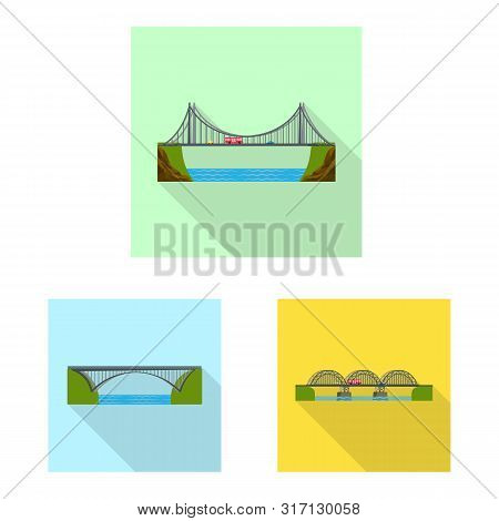 Isolated Object Of Bridgework And Bridge Icon. Set Of Bridgework And Landmark Stock Vector Illustrat