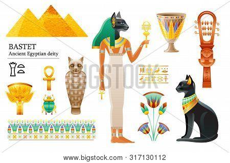 Ancient Egyptian Goddess Bastet Icon Set. Cat Deity, Cup, Flower, Mummy, Sistrum. God Of Cosmetics,