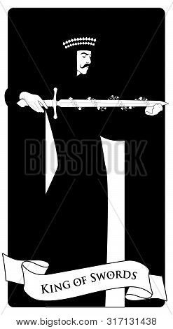 King Of Swords With Spades Crown, Holding A Sword Surrounded By Flower Garland. Minor Arcana Tarot C