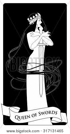 Queen Of Swords With Spades Crown, Holding A Sword Surrounded By Her Long Hair. Minor Arcana Tarot C