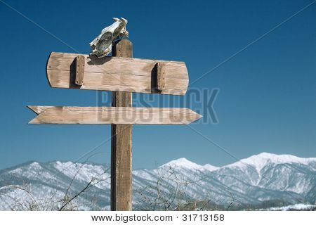 index with skull on mountain