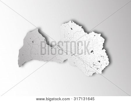 Map Of Latvia With Paper Cut Effect. Hand Made. Rivers And Lakes Are Shown. Please Look At My Other