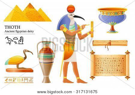 Ancient Egyptian Thoth, God Of Wisdom, Hieroglyph Writing. Ibis Bird Deity, Papyrus Scroll, Vase, Po