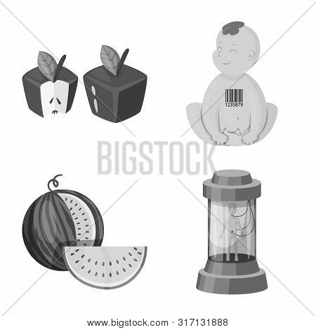 Vector Illustration Of Transgenic And Organic Sign. Collection Of Transgenic And Synthetic Vector Ic