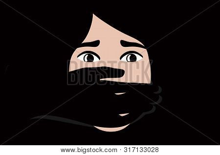 Hand Covering Woman Mouth Concept For Kidnapping Or Domestic Violence.