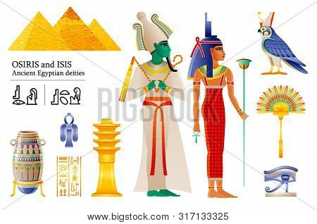 Ancient Egyptian God Pharaoh Osiris Goddess Isis Icon Set. Fan, Vase, Djed Pillar, Knot, Deity Horus