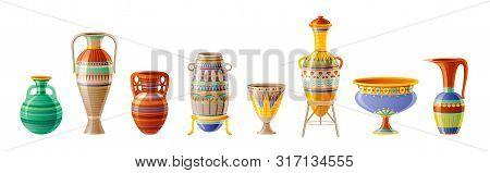 Egyptian Crockery Icon Set. Vase, Pot, Amphora, Jug. Old Geometric Floral Ornament Decoration From A