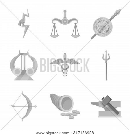 Vector Design Of Ancient And Culture Logo. Set Of Ancient And Antique Stock Vector Illustration.