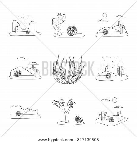 Vector Illustration Of Wilderness And Texas Sign. Collection Of Wilderness And Pasture Vector Icon F