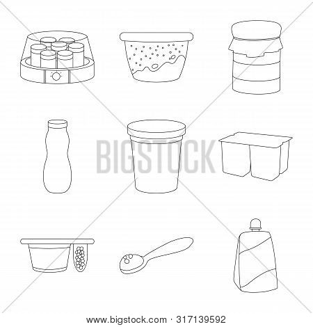 Isolated Object Of Calcium And Food Sign. Set Of Calcium And Product Stock Vector Illustration.