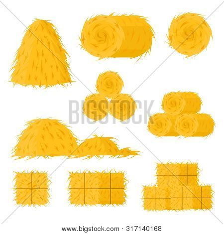 Cartoon Color Bale Of Hay Icon Set Include Of Straw, Haystack And Hayloft. Vector Illustration Of Ic