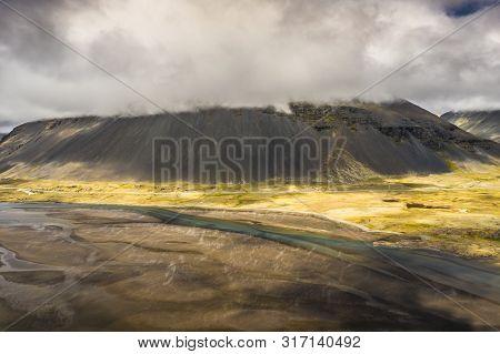 Amazing Icelandic Nature - Colourful Volcanic,misty Sky Above, Gloomy Day.