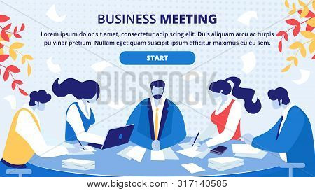 Business Meeting Planning, Negotiation Organizing Online Service Flat Vector Web Banner, Landing Pag