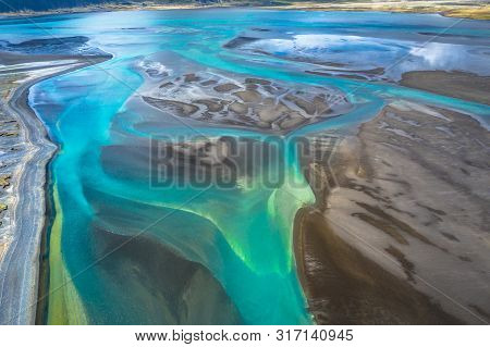 Aerial View And Top View River In Iceland Beautiful Natural Backdrop,iceland