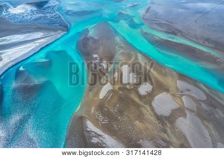 Amazing Nature, Aerial View Of Glacier Rivers,iceland