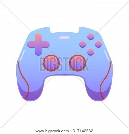Color Gamepad, Flat Vector Joypad In Delicate Lilac Colors, Modern Design Isolated Illustration