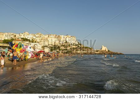 August 12, 2019, Sperlonga, Italy, View On Old Town Sperlonga And Clowded Beach During August Holida
