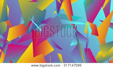 Colorful abstract low poly splinters tech background