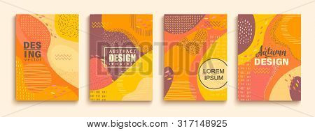 Abstract Set Of Autumn Doodle Geometric Banners.color Splashes, Lines And Dots In Trendy Memphis Ani