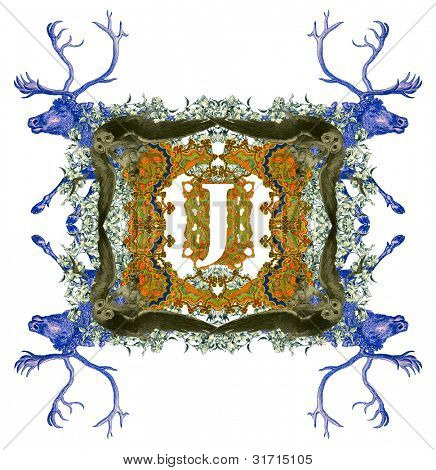 Vintage initials letter J, after a old commercial paper of the Russian Empire, circa 1905.