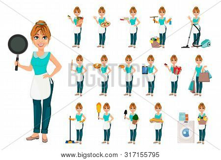 Happy Housewife, Set Of Seventeen Poses. Cheerful Mother, Beautiful Woman. Cartoon Character. Vector