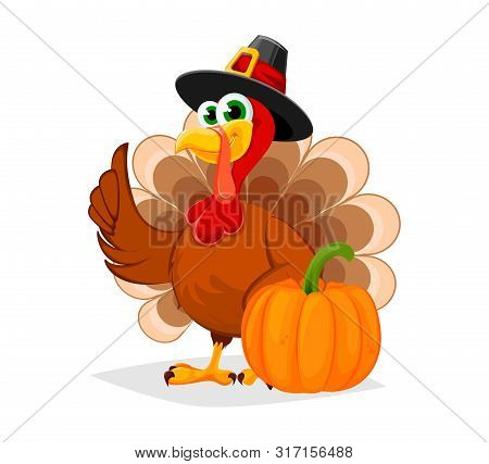 Thanksgiving Day. Funny Cartoon Character Turkey Bird In Pilgrim Hat Stands With Pumpkin. Vector Ill