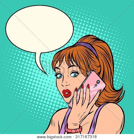 Serious Woman Talking On The Phone. Pop Art Retro Vector Illustration Drawing