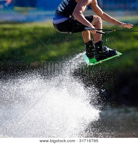 MELBOURNE, AUSTRALIA - MARCH 12: Dylan Prideaux in the wakeboard event at the Moomba Masters on March 12, 2012 in Melbourne, Australia