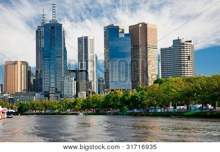 MELBOURNE, AUSTRALIA - MARCH 12: Yarra River and Melbourne skyline during the Moomba Masters waterski event on March 12, 2012 in Melbourne, Australia