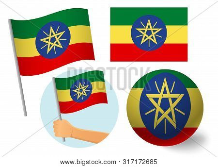 Ethiopia Flag Icon Set. National Flag Of Ethiopia Vector Illustration