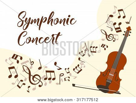 Classical Music Violin Concert Vector Illustration Poster. Symphonic Orchestra With Violin Live Conc